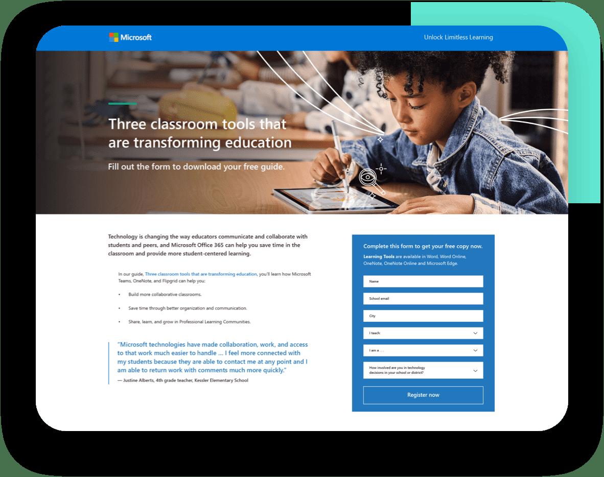 Microsoft Landing page